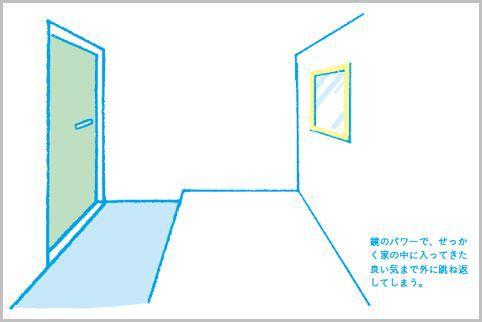 玄関正面に配した鏡は風水では良い気を跳ね返す
