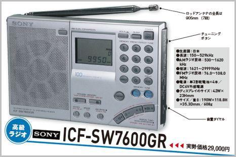 高性能BCLラジオの定番がソニー「ICF-SW7600GR」